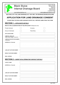 New Land Drainage Consent Application Form