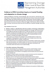 Evidence to EFRA Committee Inquiry on Coastal Flooding and adaptation to climate change
